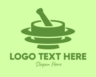 Traditional Medicine - Green Mortar & Pestle logo design