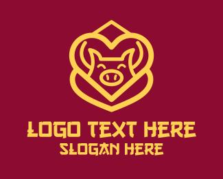 Heart - Golden Asian Pig logo design
