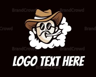 Burning Man - Cloud Puffing Western Man logo design