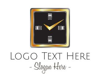 Black And Gold - Square Clock logo design