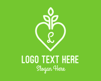 Nature Lover - Gardening Heart Letter logo design
