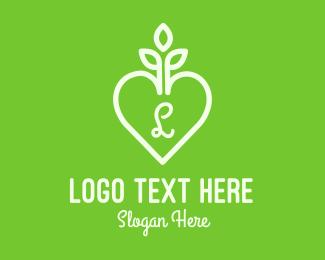 Ecologist - Gardening Heart Letter logo design