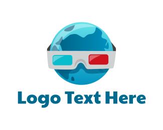 Cinema - 3D World logo design