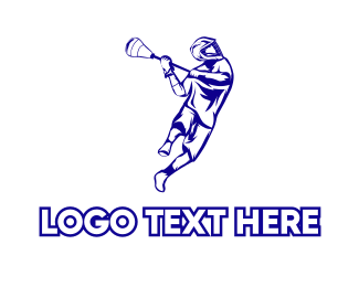Player - Blue Lacrosse Player logo design