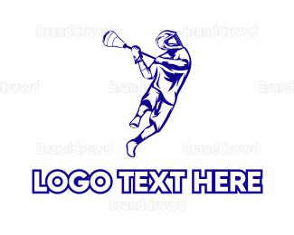 Player - Blue Lacrosse Player logo design