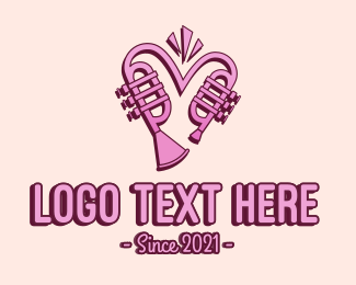Instrument - Lovely Trumpet Heart logo design