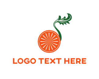 Wheel - Orange & Leaf logo design
