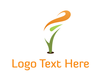 Curved - Abstract Orange Flower logo design