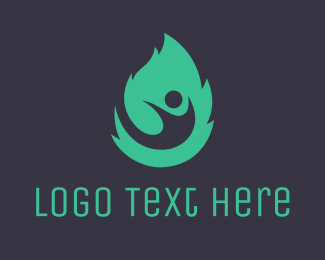 Green Fire - Green Leaf Man logo design