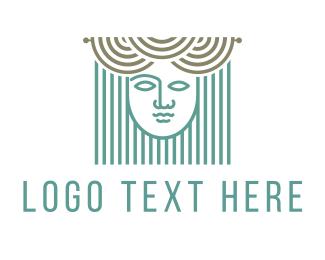 Blinds - Curtains & Woman logo design