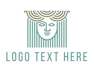 Greek - Curtains & Woman logo design