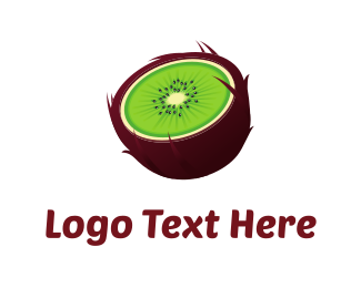 Brown - Green Kiwi logo design