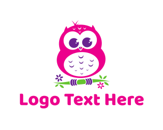 Green And Pink - Cute Pink Owl logo design