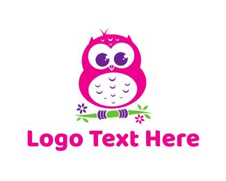Pink - Cute Pink Owl logo design