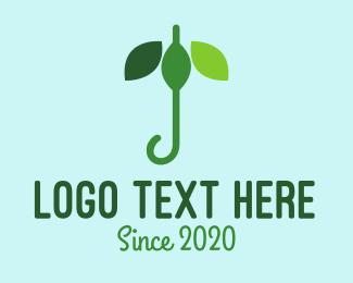 Evergreen - Leaf Umbrella  logo design
