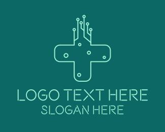 Online Consultation - Medical Technology Cross  logo design