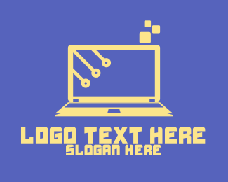 Computer Monitor - Professional Yellow Laptop logo design