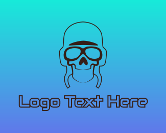 Sun Glasses - Skull Pilot Outline logo design