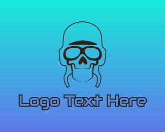 Pilot - Skull Pilot Outline logo design