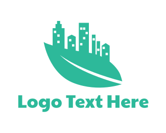 Buildings - Green Leaf City logo design