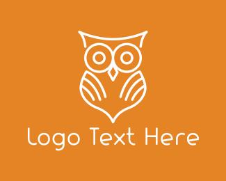 Orange And White - White Owl logo design
