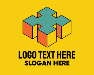 Pop Art - 3D Pixel Letter X logo design