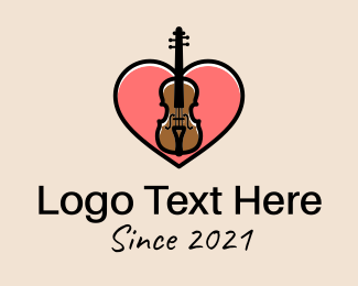 Musical School - Violin Musician Love logo design