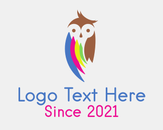 Cmyk - Owl Print Shop Mascot logo design