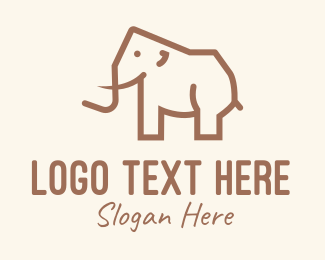 Cave Painting - Brown Mammoth Elephant logo design