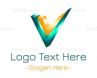 3d - Metallic Letter V logo design