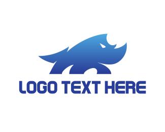 Strong - Wild Blue Rhino logo design