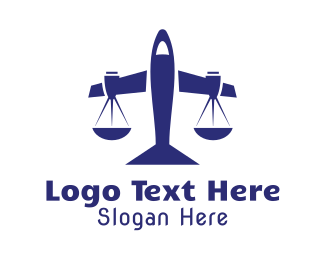 Immigration Lawyer - Blue Legal Plane Scales logo design