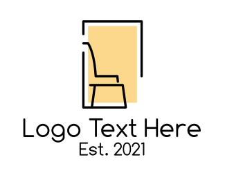 Carpentry - Chair Furniture Carpentry logo design