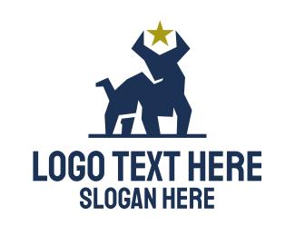 Oxen - Blue Geometric Bull logo design