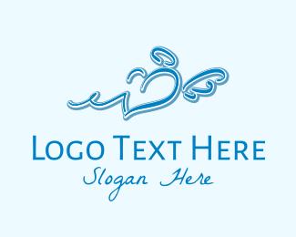 Kids Fashion - Blue Angel Heart Wings  logo design