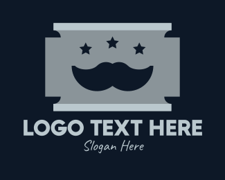 Shaving - Moustache Shaving Razor Blade logo design