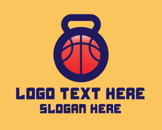Hoops - Kettlebell Basketball Gym logo design