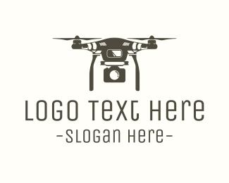 Quadcopter - Brown Drone Camera logo design