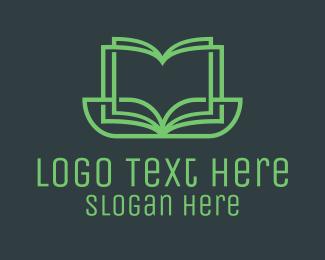 Encyclopedia - Green Monoline Organic Book logo design
