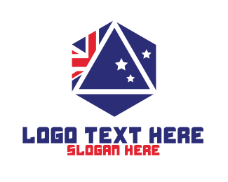 Australian Flag - Hexagon Australia Badge logo design