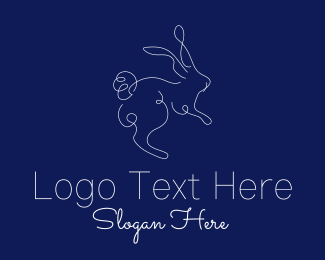 Fluffy - White Rabbit Monoline  logo design