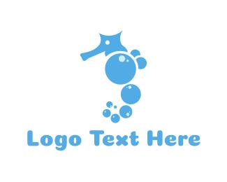 Laundry Service - Bubble Seahorse logo design