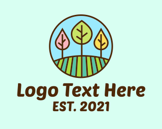 Meadow - Colorful Tree Field logo design