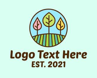 School - Colorful Tree Field logo design