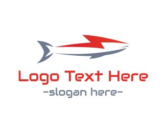 Shark - Lightning Shark logo design