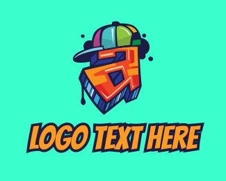 Skater - Graffiti Cap Letter A logo design