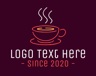 Tea Cup - Neon Lights Coffee Cup logo design
