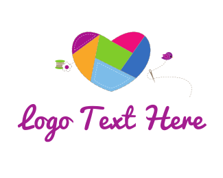 Needle - Heart Sewing logo design