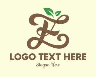 Typography - Brown Organic Letter E logo design