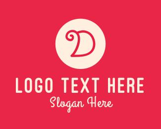 Initial - Pink Handwritten Letter D logo design
